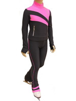 IceDress Figure Skating Outfit - Thermal - Rays (Dark Grey and Pink)