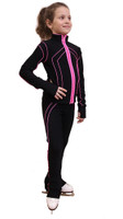 IceDress Figure Skating Jacket - Kant (Black with Pink Line)