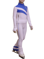 IceDress Figure Skating Jacket - Rays (White and Blue)
