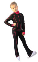 IceDress Figure Skating Jacket -Todes(Black with Raspberry Line)
