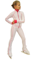 IceDress Figure Skating Jacket -Todes(White with Raspberry Line)