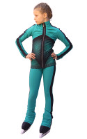 IceDress Figure Skating Outfit - Thermal - Jump (Mint with Dark Grey stripes)