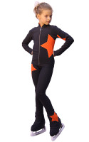 IceDress Figure Skating Outfit - Thermal - Star (Dark Grey with Orange)