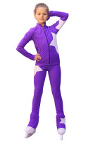 IceDress Figure Skating Outfit - Thermal - Star (Purple with White)