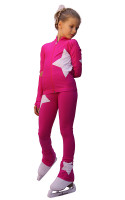 IceDress Figure Skating Outfit - Thermal - Star (Fushsia with White)