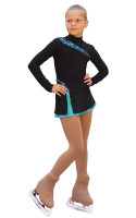 IceDress Figure Skating Dress-Thermal -  Lasso(Black with Mint)
