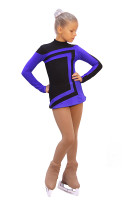 IceDress Figure Skating Dress-Thermal -  Avangard (Black with Cornflower)
