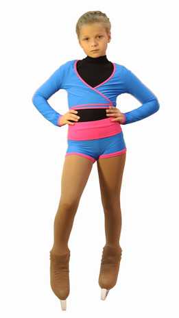 IceDress -Figure Skating Shorts with a Wide Waistband (Blue and Pink)