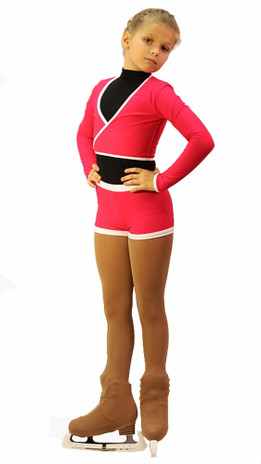 IceDress -Figure Skating Shorts with a Narrow  Waistband (Raspberry and White)