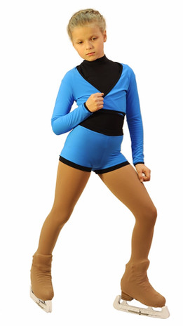 IceDress -Figure Skating Shorts with a Narrow  Waistband (Blue and Black)