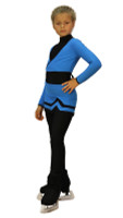 IceDress - Figure Skating Skirt s -Line (Blue and Black)