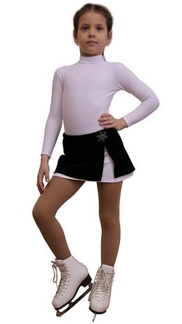 IceDress - Figure Skating Skirt s -  Rogue (Black and White with velvet)