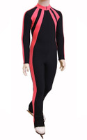 IceDress - Figure Skating Training Overalls - Sweetheart (Black and Coral)