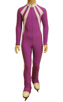 IceDress - Figure Skating Training Overalls - Sweetheart (Purple and White)