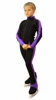 IceDress Figure Skating Pants -Bracket (Black with Violet Line)