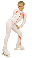 IceDress Figure Skating Pants -Euler (White and Coral)