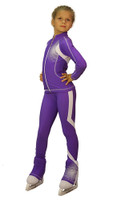 IceDress Figure Skating Pants -Euler (Purple and White)