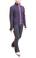 IceDress Figure Skating Pants - Kant (Gray with Purplet Line)