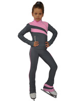 IceDress Figure Skating Pants - Rays (Light Grey and Pink)