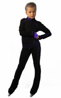 IceDress Figure Skating Pants -Todes(Black with Purple Line)