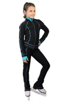 IceDress Figure Skating Pants -Todes(Black with Turquoise Line)