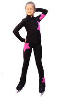 IceDress Figure Skating pants - Star (Black witn Pink)