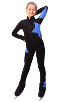 IceDress Figure Skating pants - Star (Black with Blue)