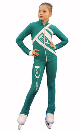 IceDress Figure Skating Outfit - Thermal - IceDress (Emerald with White)