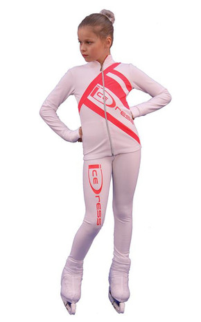 IceDress Figure Skating Outfit - Thermal - IceDress (White with Coral)