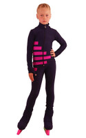IceDress Figure Skating Outfit - Thermal - IceCode (Gray-blue dark with Fuchsia)