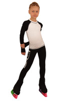 IceDress Figure Skating Outfit - Thermal - IceDress Lite (Linglish with Leggings) (Black with White)