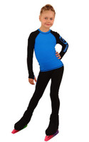 IceDress Figure Skating Outfit - Thermal - IceDress Lite (Linglish with Leggings) (Black with Blue)