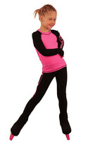 IceDress Figure Skating Outfit - Thermal - IceDress Lite (Linglish with Leggings) (Black with Pink)
