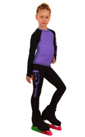 IceDress Figure Skating Outfit - Thermal - IceDress Lite (Linglish with Leggings) (Black with Purple)