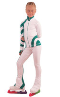 IceDress Figure Skating Outfit - Thermal - Cross-Roll (White with Emerald)