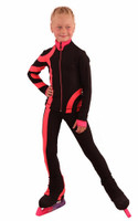IceDress Figure Skating Outfit - Thermal - Cross-Roll (Black with Bright Coral)