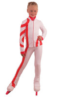IceDress Figure Skating Outfit - Thermal - Cross-Roll (White with Bright Coral)