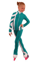 IceDress Figure Skating Outfit - Thermal - Cross-Roll (Emerald with White)