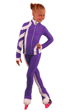 IceDress Figure Skating Outfit - Thermal - Cross-Roll (Purple with White)