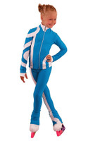 IceDress Figure Skating Outfit - Thermal - Cross-Roll (Blue with White)