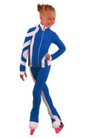 IceDress Figure Skating Outfit - Thermal - Cross-Roll (Cornflower with White)