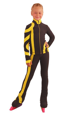 IceDress Figure Skating Outfit - Thermal - Cross-Roll (Dark Gray with Yellow)