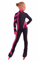 IceDress Figure Skating Outfit - Thermal - Cross-Roll (Gray-dark Blue with Fuchsia)