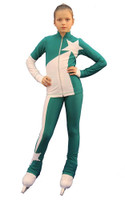 IceDress Figure Skating Outfit - Thermal - Space (Emerald with White)