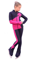 IceDress Figure Skating Outfit - Thermal - Space (Gray blue dark with Fuchsia)