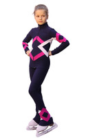 IceDress Figure Skating Outfit - Thermal - Bauer (Gray blue dark, Fuchsia and White)