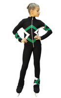 IceDress Figure Skating Outfit - Thermal - Bauer (Black, Green and White)