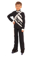 IceDress Figure Skating Outfit - Thermal - IceDress for Boys(Gray-Blue Dark with White )