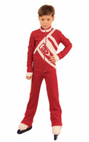 IceDress Figure Skating Outfit - Thermal - IceDress for Boys(Red with White )