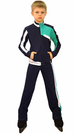 IceDress Figure Skating Outfit - Thermal - Crossover for Boys(Grey-Dark Blue, White and Mint)